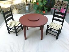 Retired American Girl Addy Lazy Susan Table and Chairs furniture set for dolls