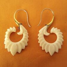 Carved Spiral on .925 Sterling Silver Hook Tribal Gypsy Earrings Boho Jewelry