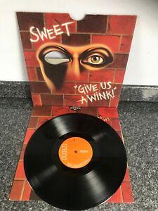 LP VINYL ALBUM SWEET GIVE US A WINK UK 1ST PRESS DIE CUT SLEEVE PRO CLEANED EX