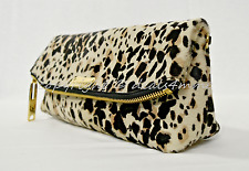 Burberry The Petal Animal Print Clutch in Stone. Dark Brown & Off White Haircalf