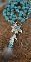 Lungta windhorse Tibetan Turquoise Beaded Sterling Silver Lotus Necklace Tasso