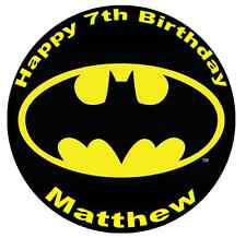 """Batman Logo Personalised Cake Topper 7.5"""" Edible Wafer Paper Birthday Party"""