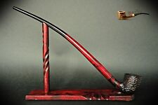 "TOBACCO SMOKING PIPE + STAND Lotr Gandalf Hobbit 81 CHURCHWARDEN 14""  Red Rustic"
