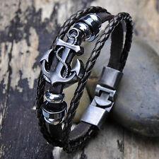 New Fashion Men Vintage Metal Anchor Steel Studded Surfer Faux Leather Bracelet