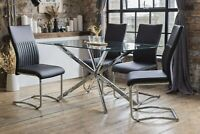 Selina Luxury Dining Table Set with 4 Black Cyra Dining Chairs Glass 1.5m*0.8m