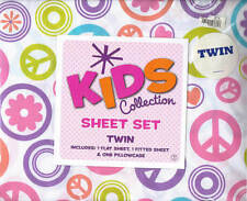 KIDS COLLECTION SHEET SET TWIN PEACE SIGNS FLOWER POWER NEW IN PACKAGE