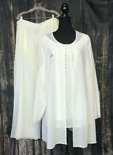 Virgo Womens 3 Piece Pant Suit Cream Off White Embroidered Palazzo Pant MOB 20W