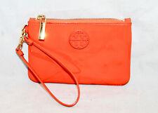TORY BURCH Orange Patent Leather Slim Zip Wristlet Gold Hardware