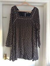 Next Size 14 Navy Blue Beige Spotted Long Sleeve Tunic Dress
