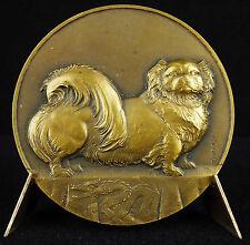 Médaille Chine chien Pékinois et dragon sc Thénot Pekingese dog 1950 China medal