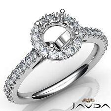 Semi Mount Platinum 950 1Ct Round Diamond Engagement Halo French Cut Prong Ring