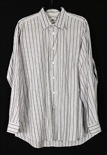 HERMES White & Lavender Striped Cotton Men's Dress Shirt 17 43