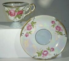 VTG ANTIQUE RED ROSE TEA CUP AND SAUCER RELCO CREATION HAND PAINTED JAPAN