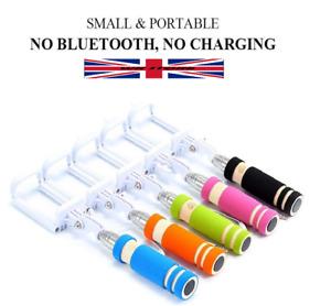 Mini Selfie Stick Handheld No Bluetooth Black Pink Blue UK Stock FAST & FREE
