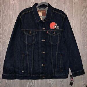 Mens Levis NFL Cleveland Browns Denim Trucker Jacket Blue Sz XL NWT $108