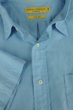 Daniel Cremieux Hombre Azul Hielo Manga Corta Algodón Camisa Informal L GRANDE