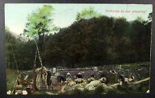 POSTCARD Welcome to our Shearing; Sheep Shearing; Glastonbury duplex 311 1907
