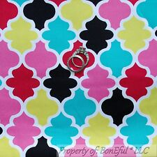 BonEful FABRIC FQ Cotton Woven Decor Pink Aqua Black White Damask Pattern Print