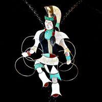Zuni Sterling Silver & Multi-Stone Inlay Hoop Dancer Bolo by Jonathan Beyuka