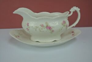 Vintage Carlsbad Austria Gravy Boat with Underplate White with Pink Roses