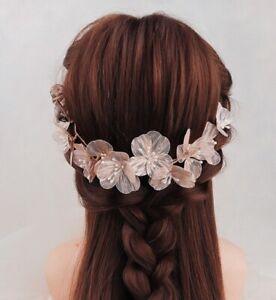 Gold Flower Hairband Korean Wire Pearl Rhinestone Wreath Bridal Bridesmaids