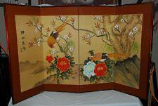 Vtg 1950's Room Divider 4-Panel Oriental Japanese Painted Birds Silk Screen