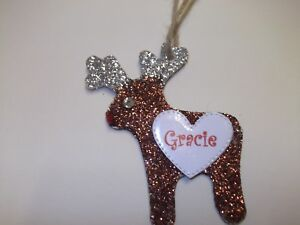 Personalised Childrens Reindeer Christmas Tree Hanging  Decoration Gift Wooden