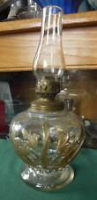 "ANTIQUE DAFFODIL EMBOSSED SMALL 5"" GLASS OIL LAMP W/ BURNER & CHIMNEY"