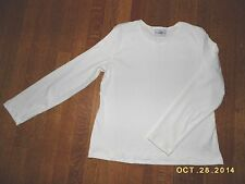 STUDIO EASE STRETCH RIBBED IVORY LONG SLEEVE TOP, POLY-SPANDEX, SIZE 14