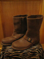 Mens LL BEAN Maine Lodge Boots Wellington Motorcycle Buckle Pull On BROWN 10.5M