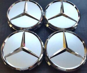 4Pcs, Wheel Center Hub Cap 75 MM Silver Matte, Mercedes Benz Fit: CLS S E GL SL