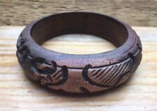 Pretty Retro Carved Wooden Bangle/Abstract/Tribal Look/Ethnic/Boho/Brown