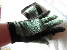 vintage gant crochet COTON vert marron @old glove