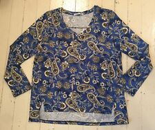 Femme by Tresics Womens XL Long Sleeve Blue Paisley Knit V Neck Jersey Top Shirt