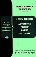 John Deere Automatic Pickup Hay Baler 114W 114-W Owners Operators Manual