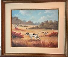 Vintage Painting With Rich Autumn Tones and a  Classic Hunting Scene Of Bird Dog