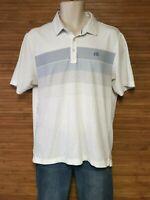 Travis Mathew White Striped Short Sleeve Polo Shirt Mens Size Medium M