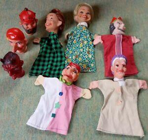 8 alte Kasperle-Figuren/Puppenspiel 60/70er-Jahre, 5 mit Kleidern 3 nur Köpfe