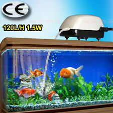 Aquarium Fish Tank Air Pump 120L/H One Outlets + Air Line Stone 1.5W