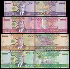 Turkmenistan 50,100,500,1000 Manat X 4 Banknotes Full Set,2005,P-17,18,19,20,UNC