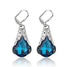 Vintage Silver Blue Sapphire Gem Feather Drop Dangle Earrings XMAS GIFT Newly