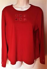 Christopher & Banks Red Long Slv Knit Top--Tee w/ Prints of Football Items Sz XL