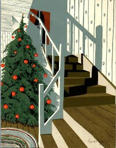 Eyvind Earle Irene Dash Disney Artist Interior Home VTG Christmas Greeting Card