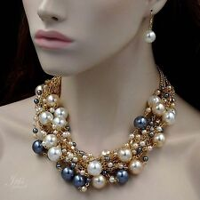 Gold Plated GP Pearl Crystal Bead Necklace Earrings Wedding Jewelry Set 09954