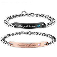 Lover Couple Bracelet Women Men's Stainless Steel Wristband Cuff Bangle Gift