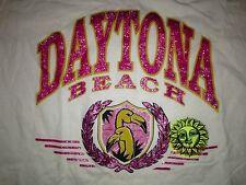 vintage NIKE red tag 90s DAYTONA BEACH FLAMINGO CREST-FLORIDA White T Shirt, MED
