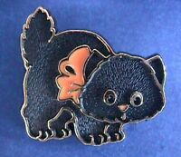 Hallmark PIN Halloween Vintage CAT BLACK Kitten Fluffy Orange BOW Holiday Brooch