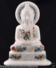 "12"" White Marble Buddha Statue Figure Stone Sculpture Religious Handcarved Fine"