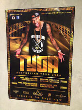 TYGA 2014 Australian Tour Poster A2 Hotel California Last King 18th Dynasty *NEW
