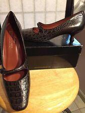 """Donald Pliner Couture Mary Jane Brown 9N 1 1/2"""" ktn  Heel pump shoe Faux Croc"""
